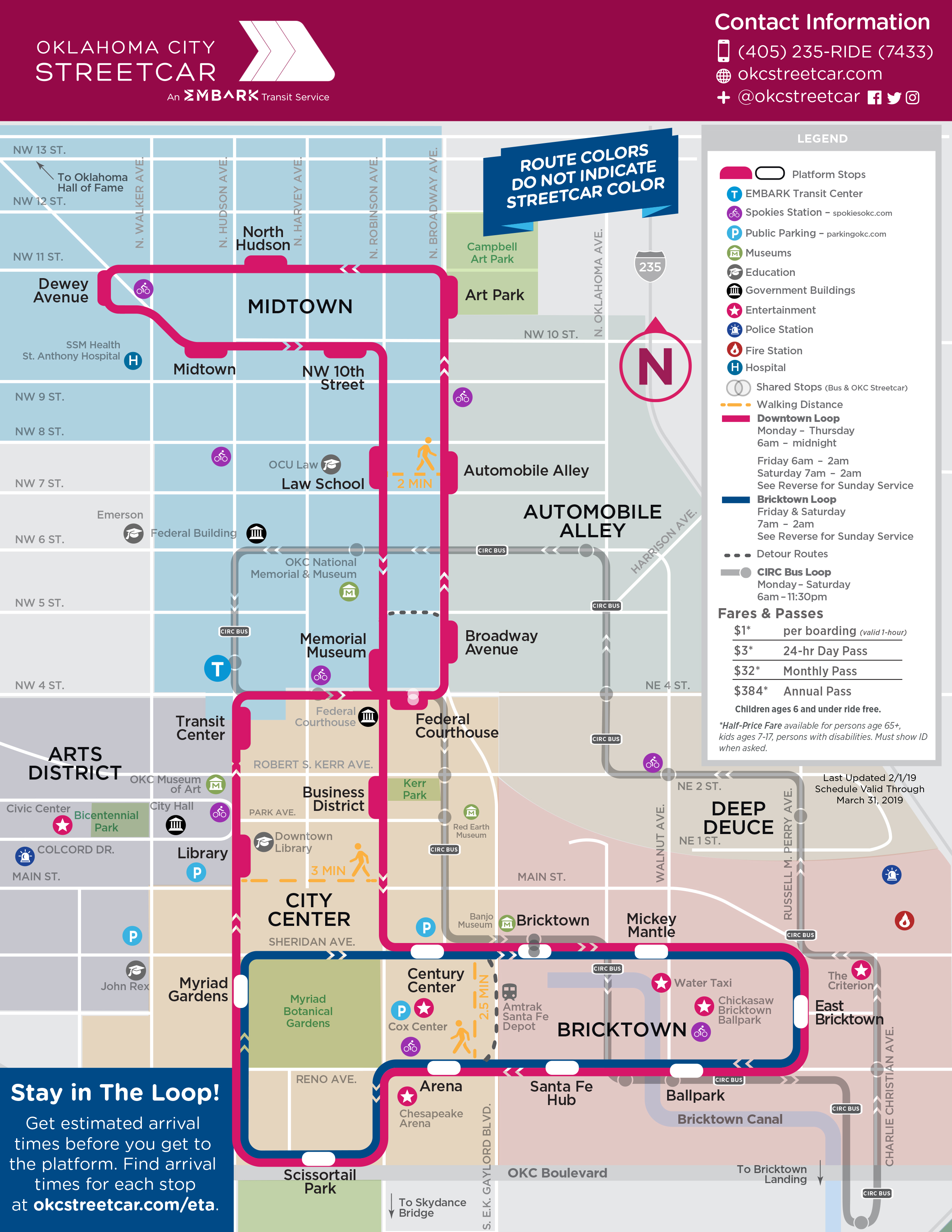 photograph relating to Loop Schedule Printable identified as Way Map Oklahoma Town Streetcar